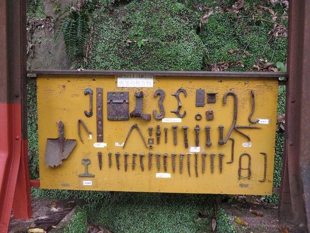 愛岐トンネル群で発見された落し物の工具や釘