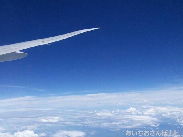 飛行機の上空から撮った空