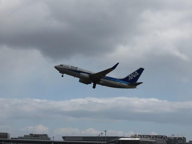 中部国際空港セントレア滑走路見学ツアー、離陸するANAの飛行機