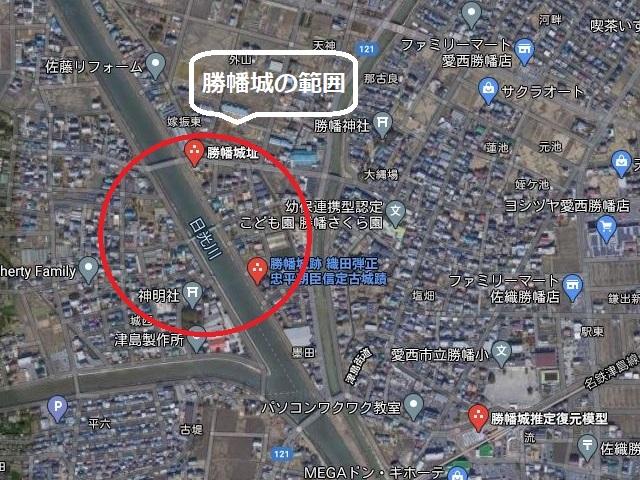 愛知県稲沢市と愛西市にまたがる勝幡城エリア