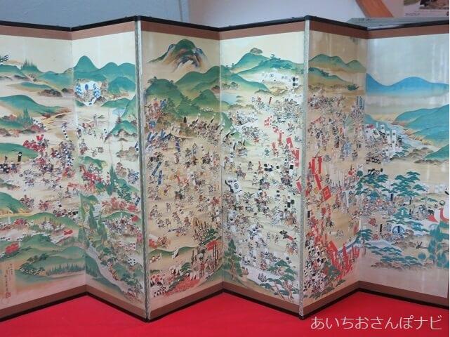 岐阜県関ヶ原市の合戦を表す屏風