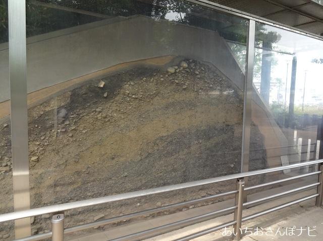 愛知県小牧山城の土塁の断面