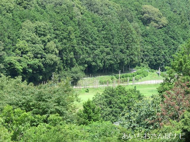 愛知県新城市の長篠設楽原の戦いの馬防柵(歴史博物館屋上から眺める)