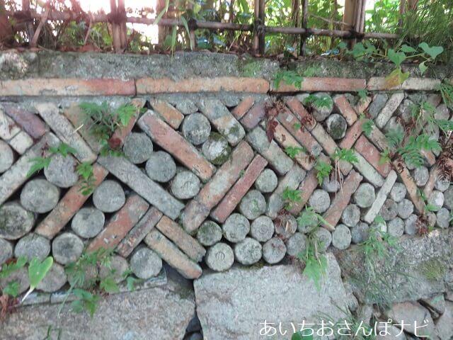 愛知県瀬戸市にある幾何学模様の窯垣