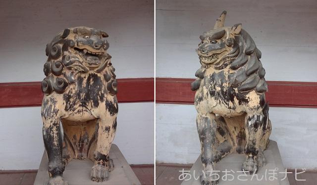 岐阜県垂井町にある南宮大社の楼門の狛犬