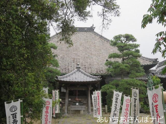 愛知県西尾市かぼちゃ寺の本堂前
