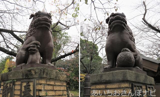 愛知県高浜市の春日神社の陶製狛犬