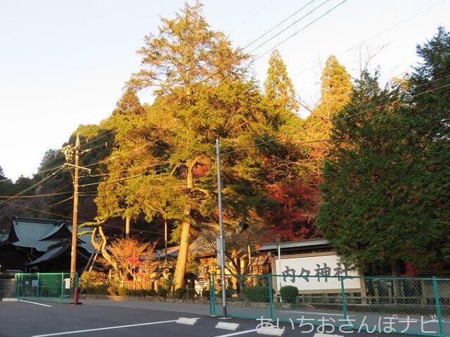 愛知県春日井市内々神社の駐車場