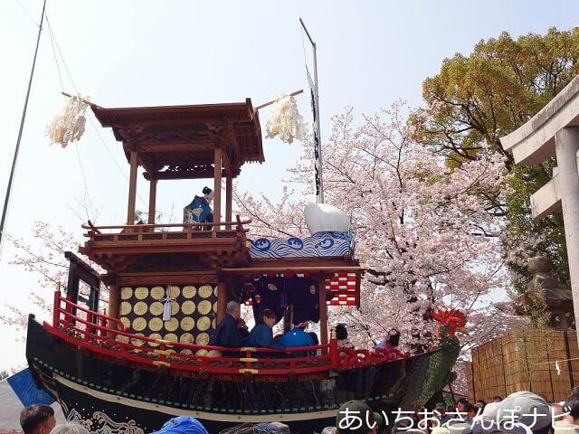 犬山祭りで針綱神社にからくり奉納する車山