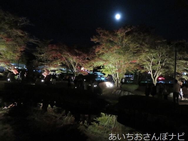 岐阜県曽木公園の紅葉と月